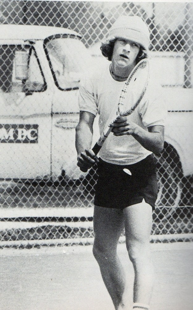 State singles tennis champion Joe Langner photographed at the Columbia High School tennis courts