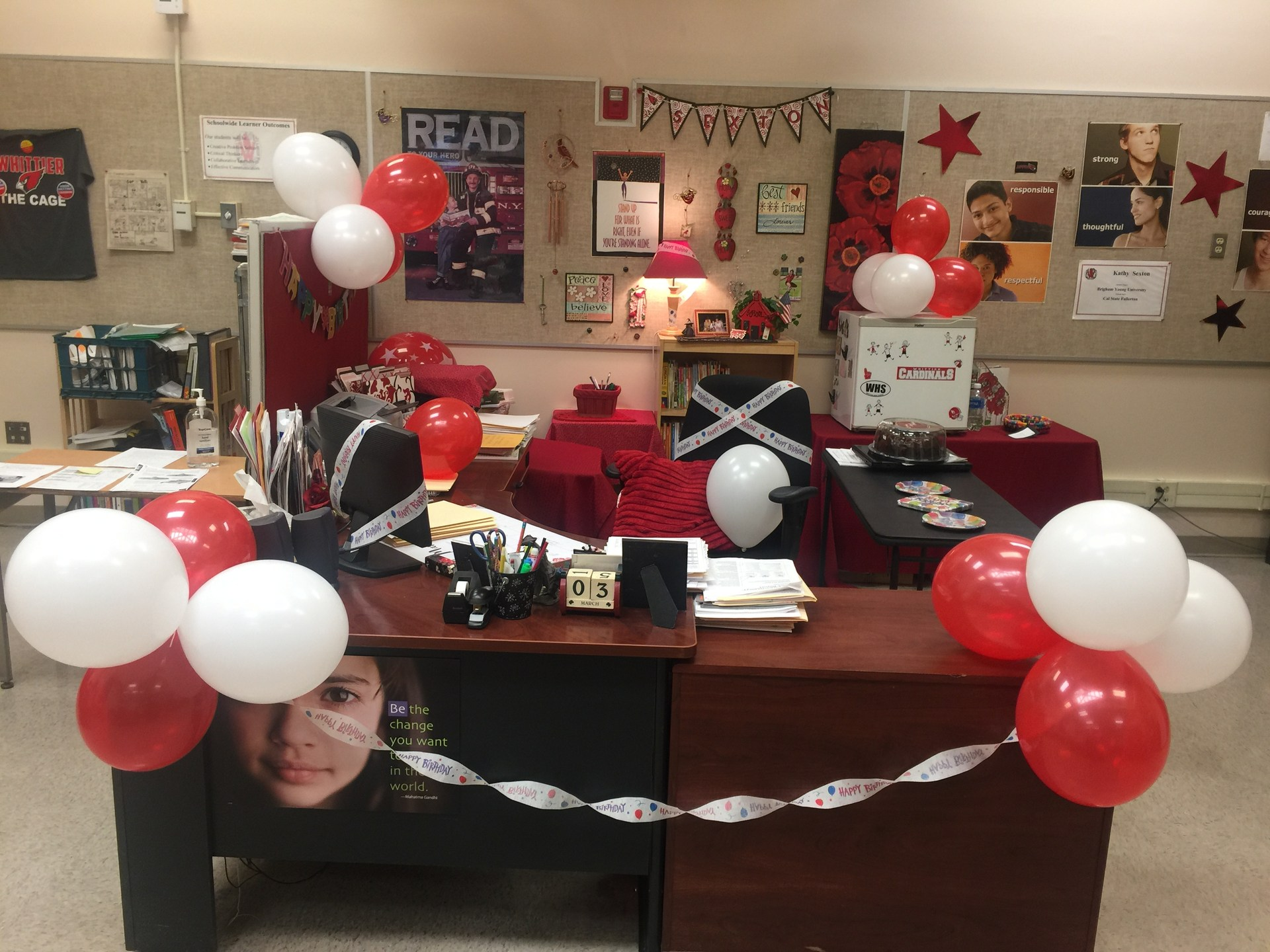 Ms. Sexton's desk on her birthday