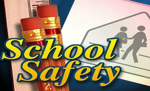 School Safety banner with pencils and rulers in the background