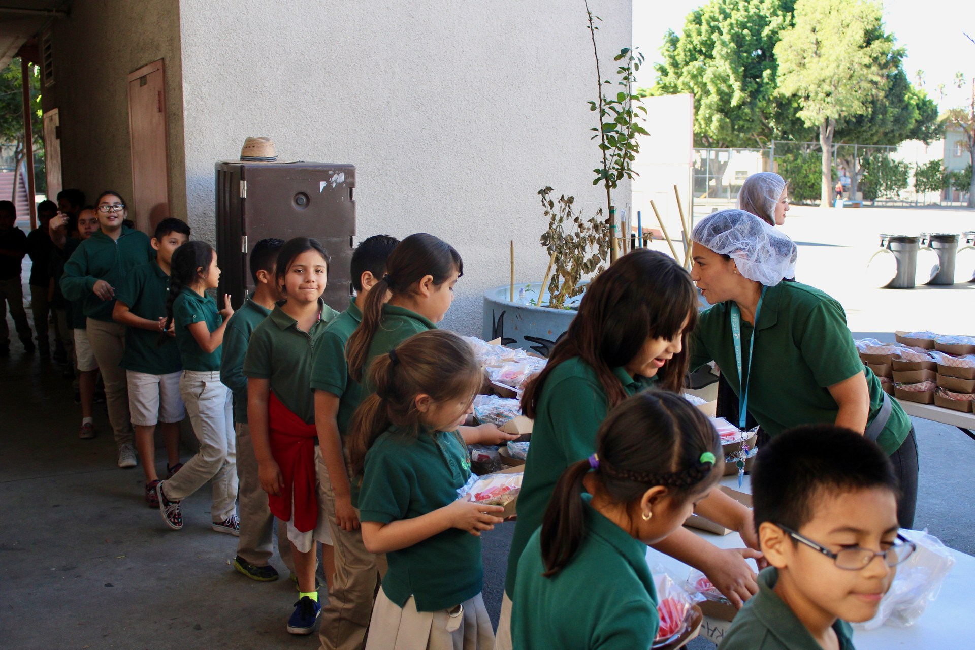 Students in line to receive lunch