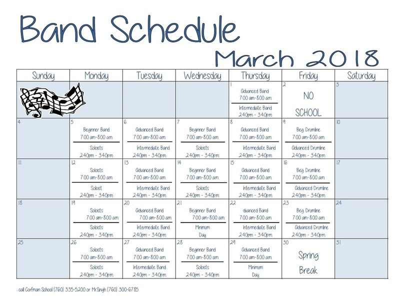 Band Schedule ~ March 2018 Thumbnail Image