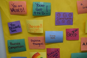 sticky notes on bulletin board
