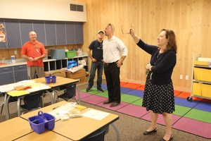 WSSDA Executive Director Tim Garchow visits the Adams Elementary Cross Laminated Timber classroom addition