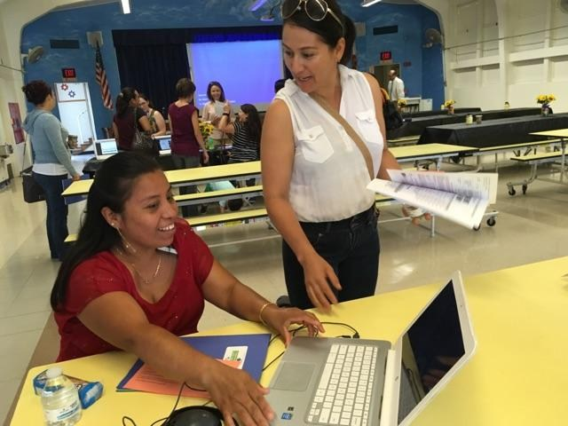 Parent enjoying Parent Academy