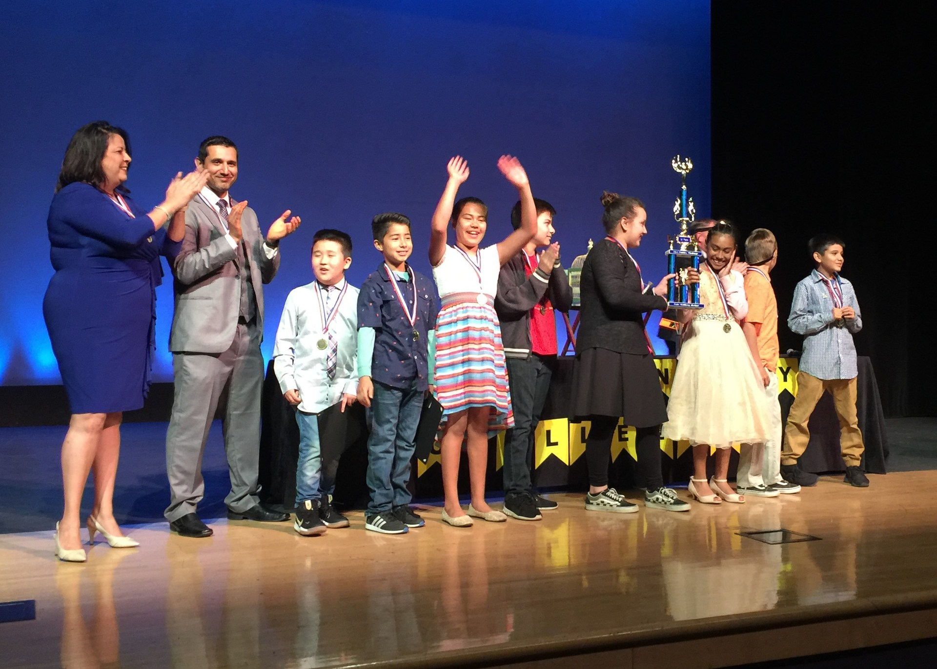 Students from Baldwin Park Unified's Elwin Elementary celebrate on April 26 as they learn they won the second annual 21st Century Challenge..