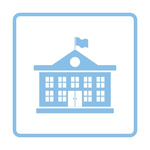 Graphic Icon showing a school house
