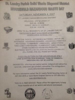 St. Landry Household Hazardous Waste Day