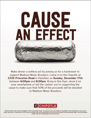 chipotle flyer for music boosters