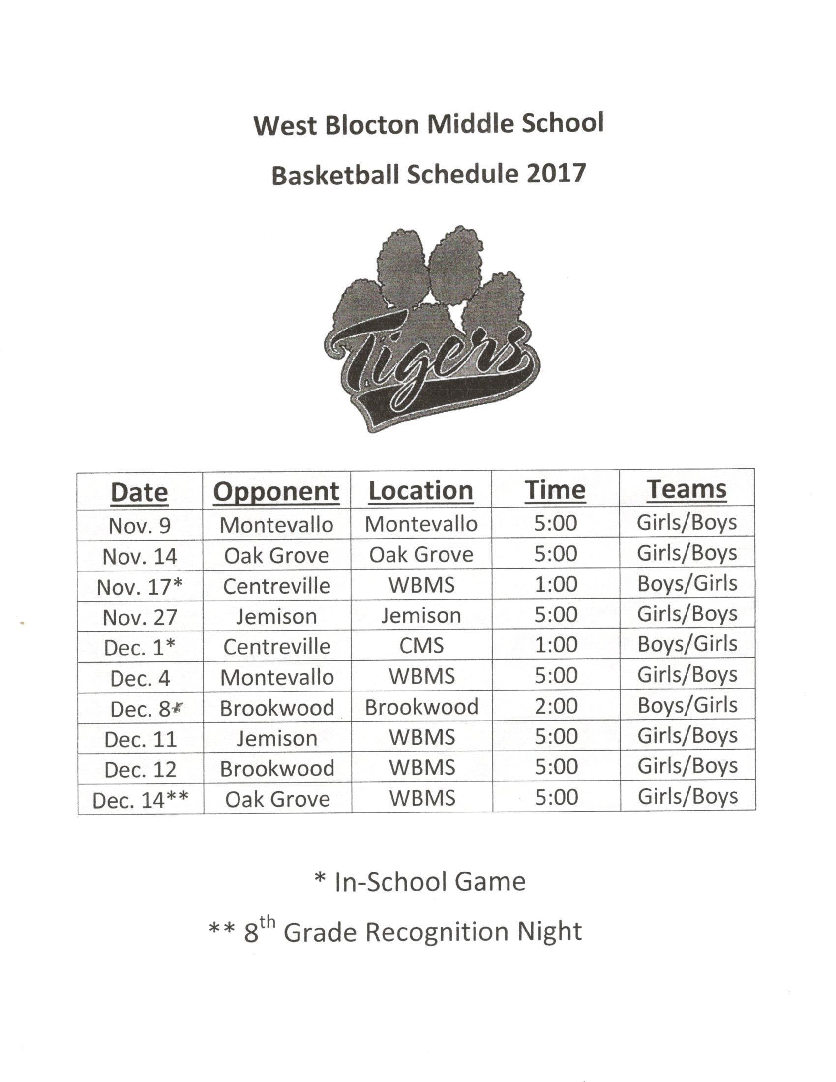 2017-18 WBMS Girls Basketball Schedule