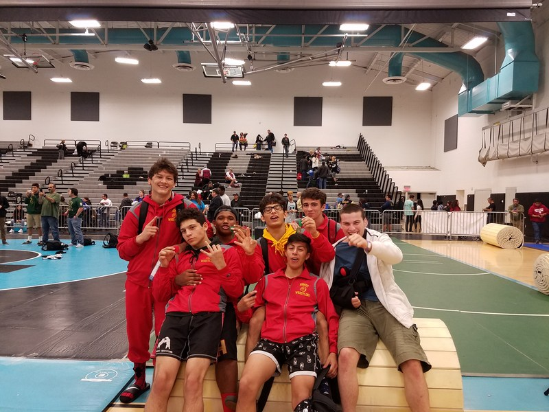 Hemet High Wrestlers team photo after CIF meet.