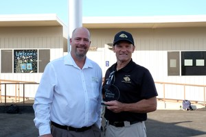 California Casualty Field Marketing Manager Chris Renn presented San Jacinto Leadership Academy Commandant Colonel Sick with special plaque for earning California Gold Ribbon Schools Award.