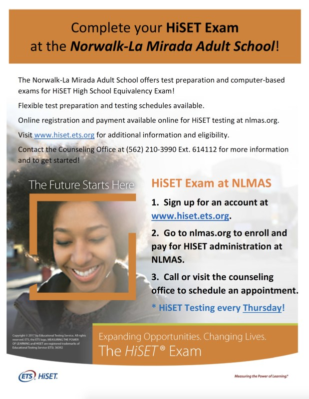 Complete your HiSET Preparation and Testing at the Norwalk-La Mirada Adult School! Featured Photo