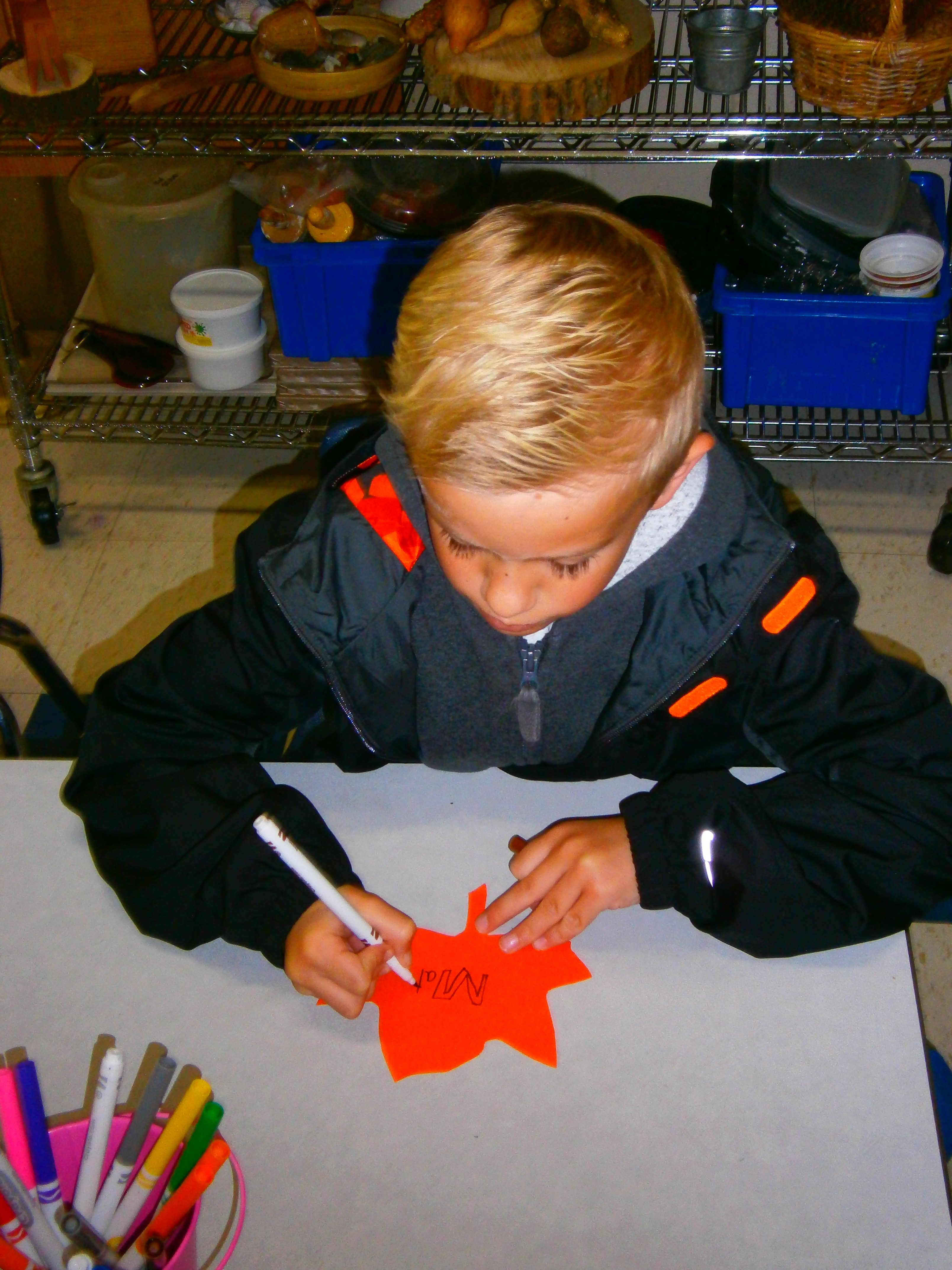 Making a leaf for the classroom project.