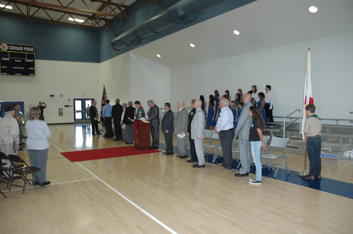 Everyone standing for the Pledge of Allegiance