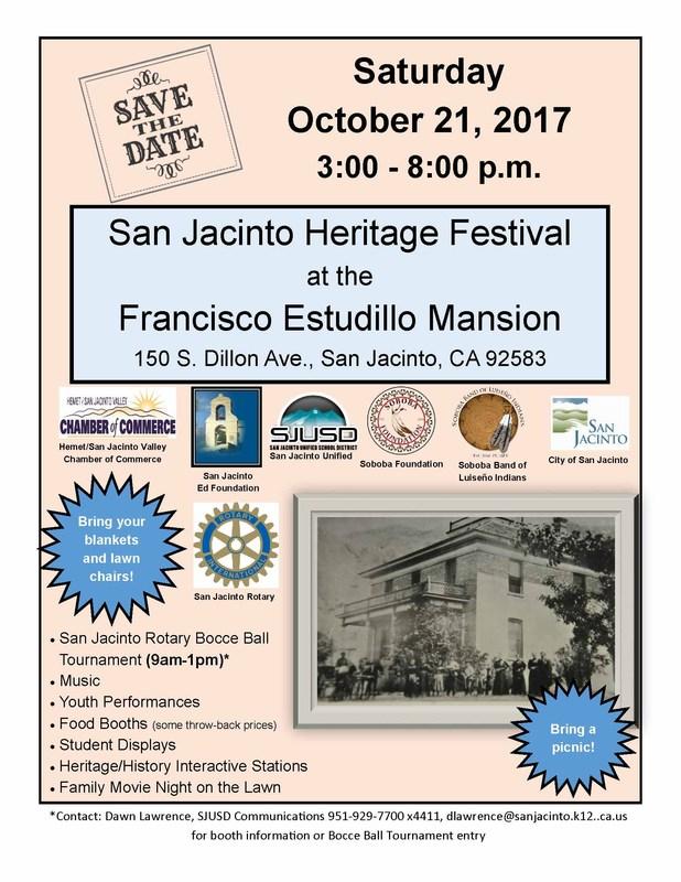 San Jacinto Heritage Event Flyer for October 21, 2017, held at Estudillo Mansion, 3-8pm.