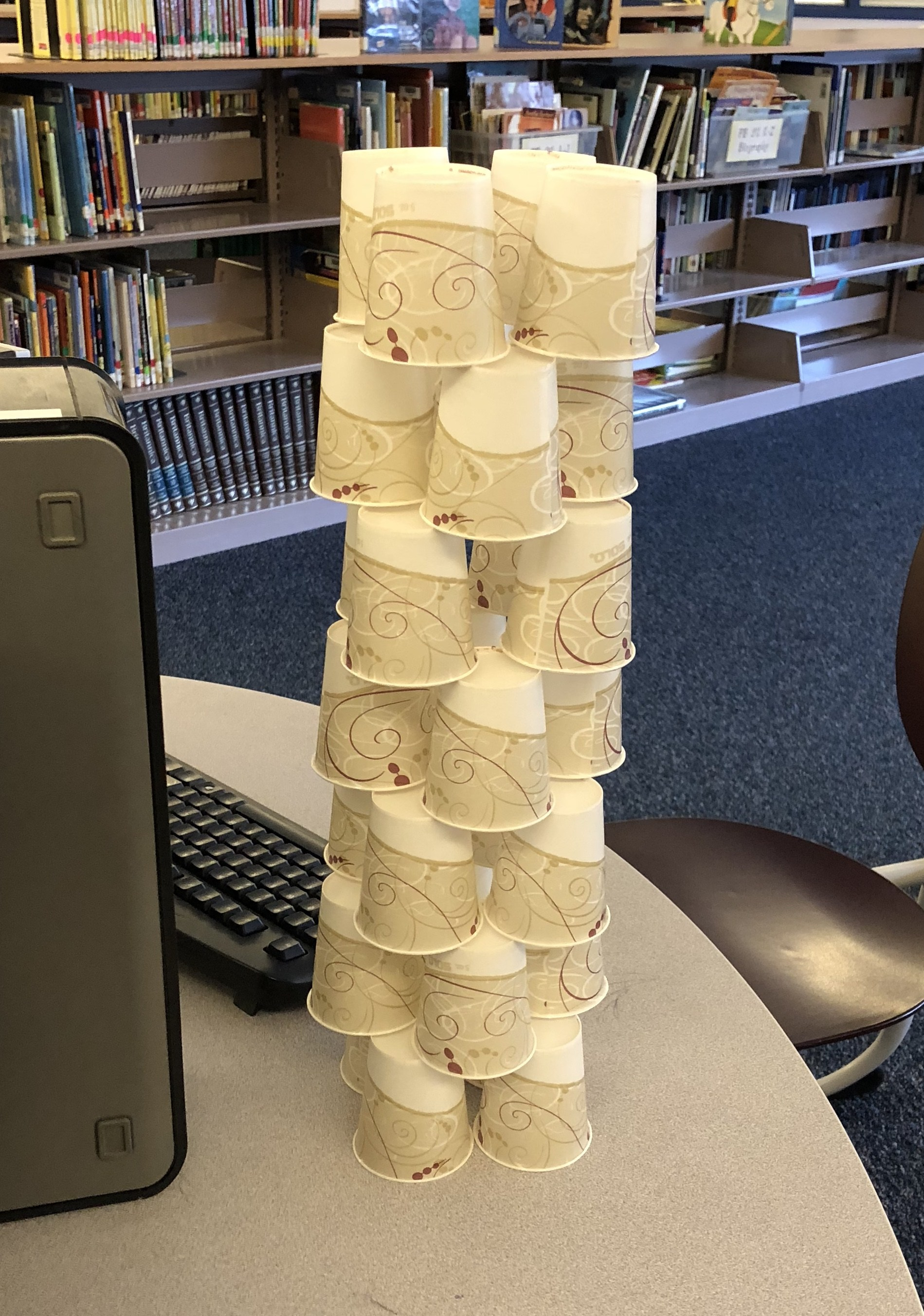 Maker space activity--a tower of paper cups