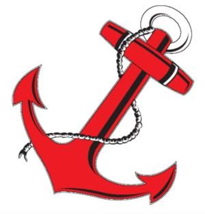 Red ship's anchor