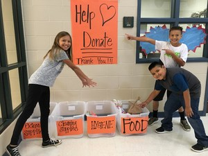 Students collecting donations.