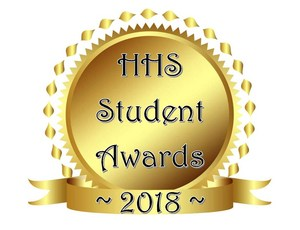 Gold seal with wording HHS Student Awards ~2018~.