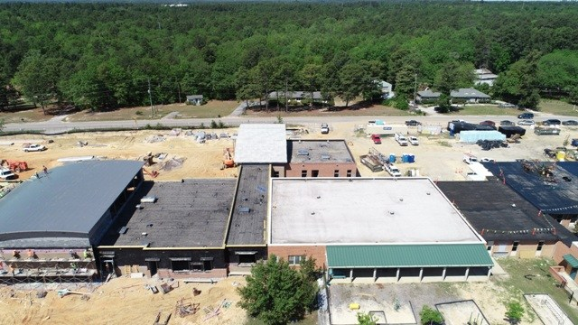 Aerial photo of Springdale Elementary rooftop rennovations
