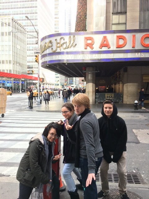 Theater students posing in New York.