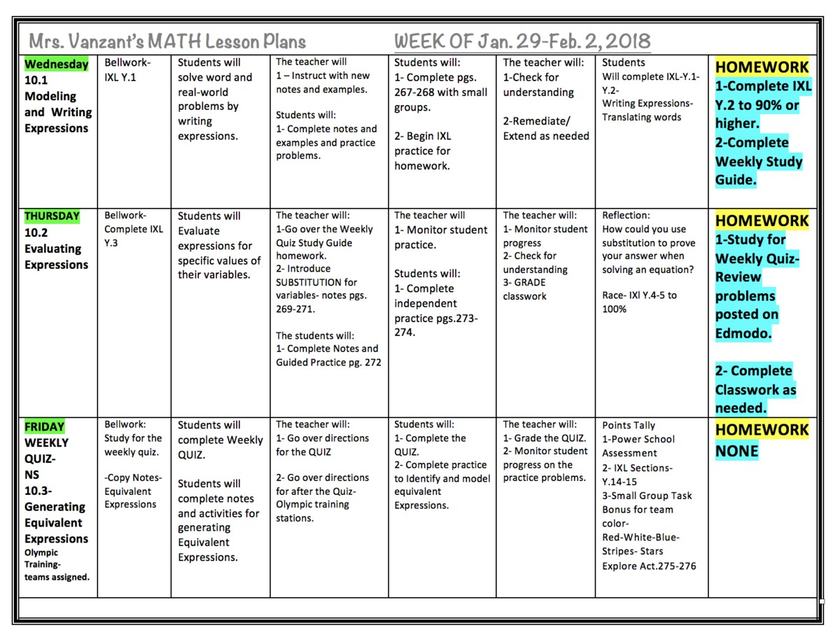 Mrs. Vanzant\'s 6th Grade Math Class- Weekly Plans with Learning ...