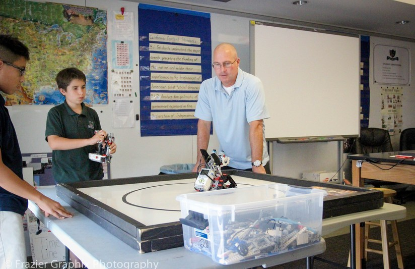 Student testing a robot