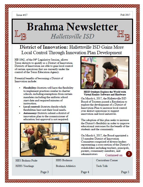 Front page of Brahma Newsletter