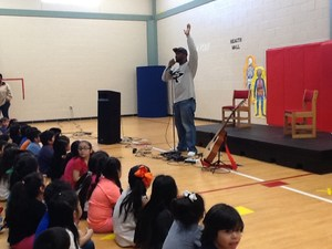 SaulPaul, the Texas-based musician with a message, visited Blake Manor Elementary School Friday, March 2 to engage with the students in song as well as deliver an inspirational message about making the right choices in life. SaulPaul's assembly started with the musician asking students questions about themselves, then telling parts of his story. He then sang some of his popular songs and allowed the children to sing along. He also showed them his freestyle rap abilities and his ability to remix a song on the spot, all while keeping the message positive and upbeat for the elementary students. SaulPaul is originally from Houston and has garnered recognition for his musical abilities and stage presence.