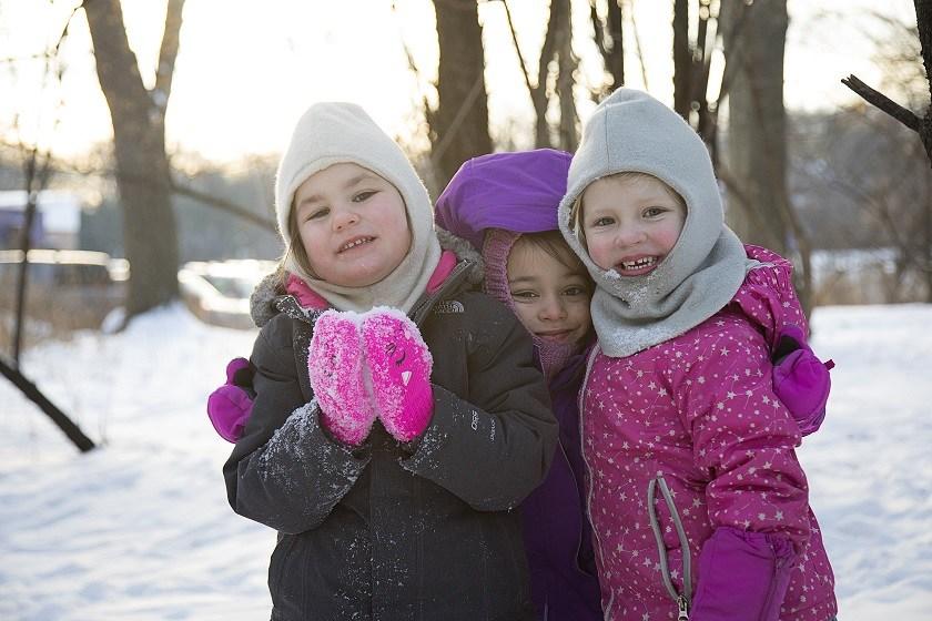 Kindergarten Three Friends in Snow