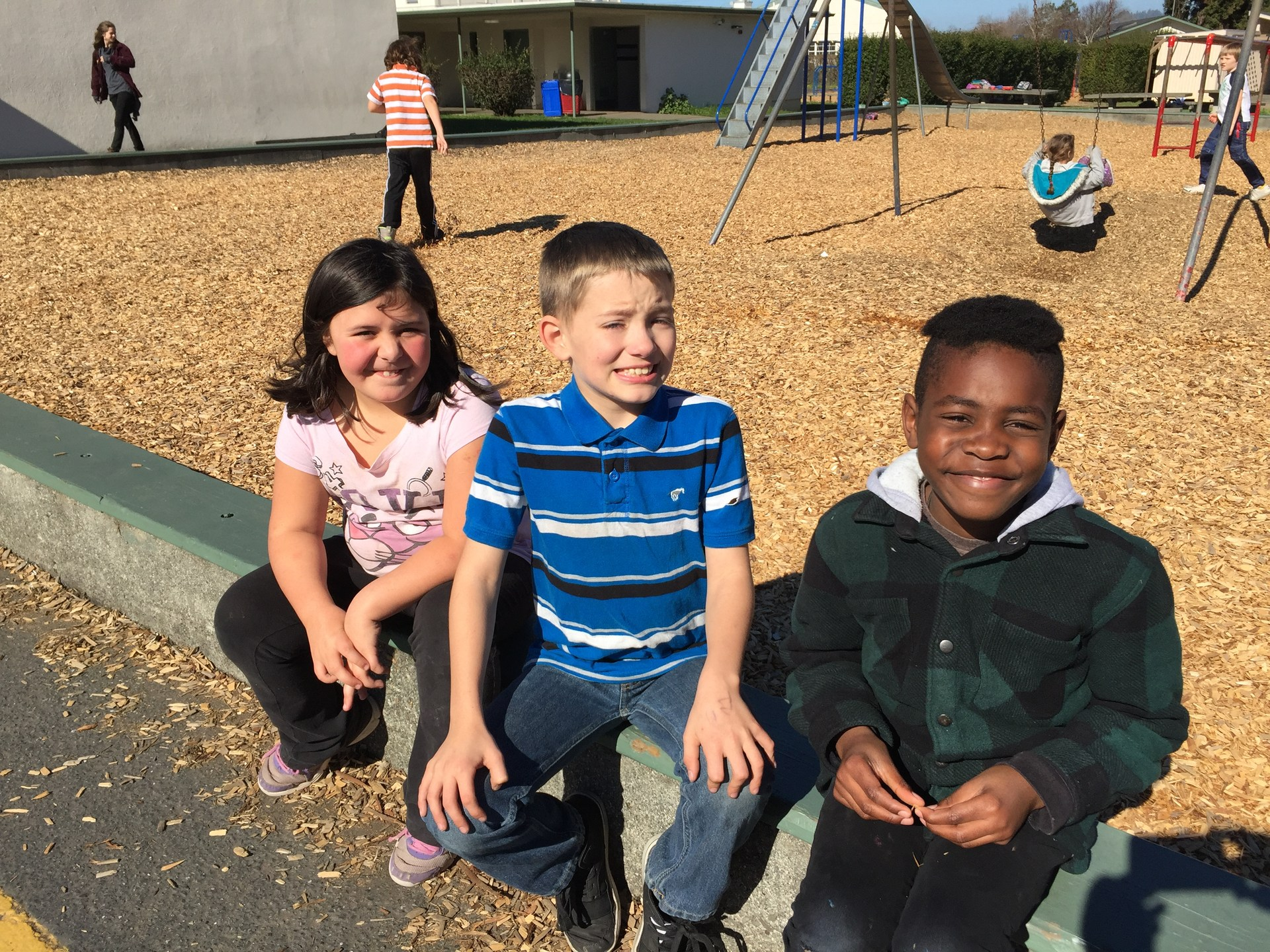 three friends at recess