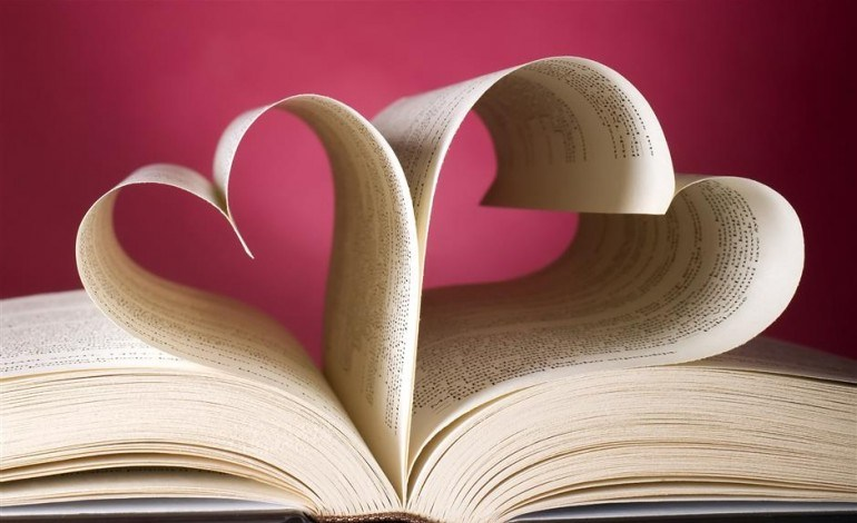 Heart-shaped pages of a book