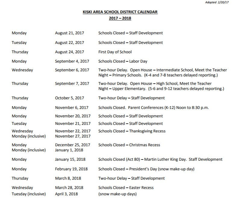 Kiski Area 2017-2018 School Calendar