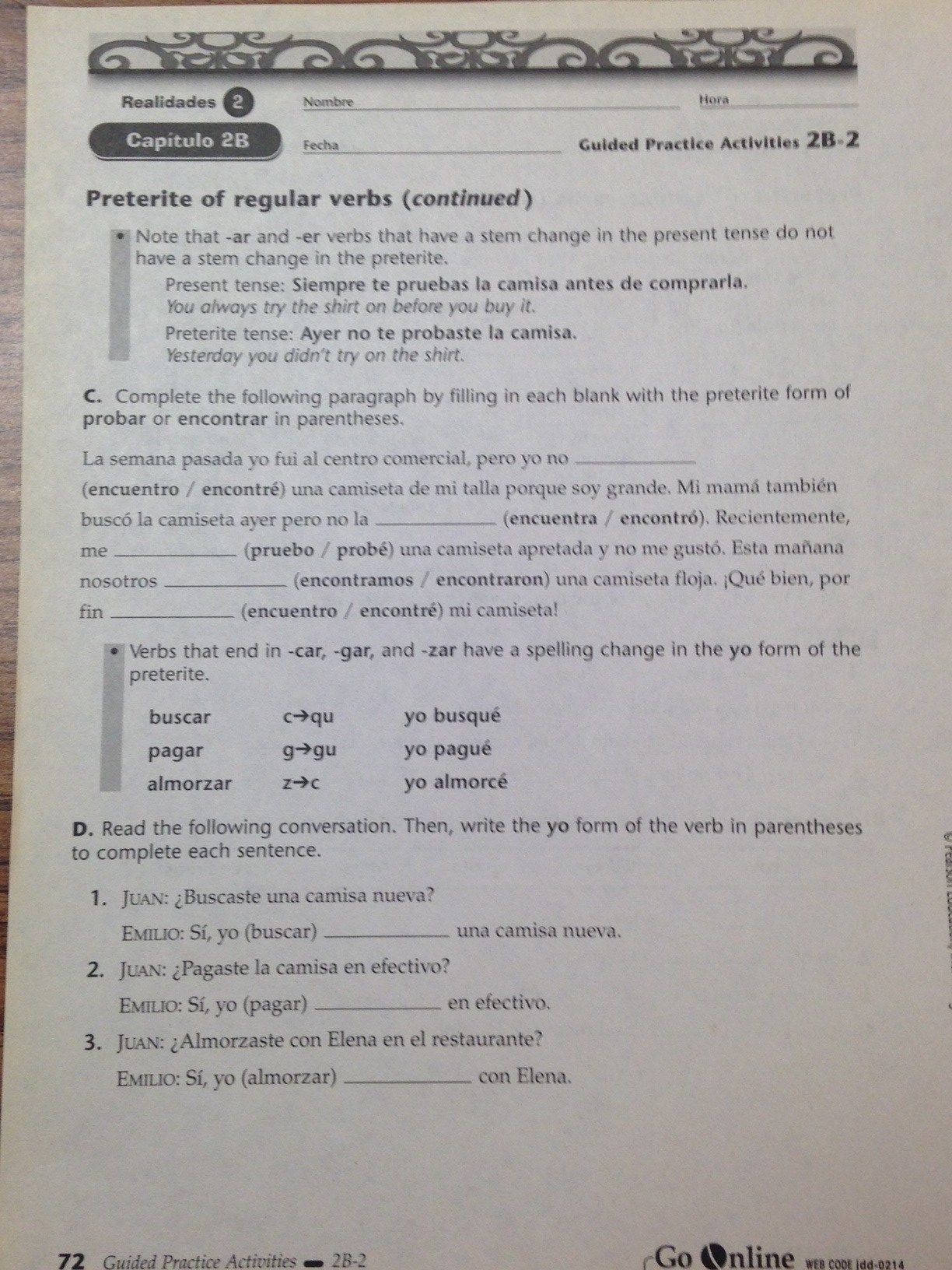 realidades 1 guided practice activities answer key 6b