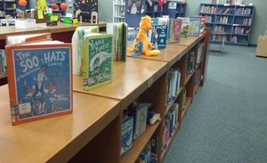 Doctor Seuss decorations in the Cannan library.