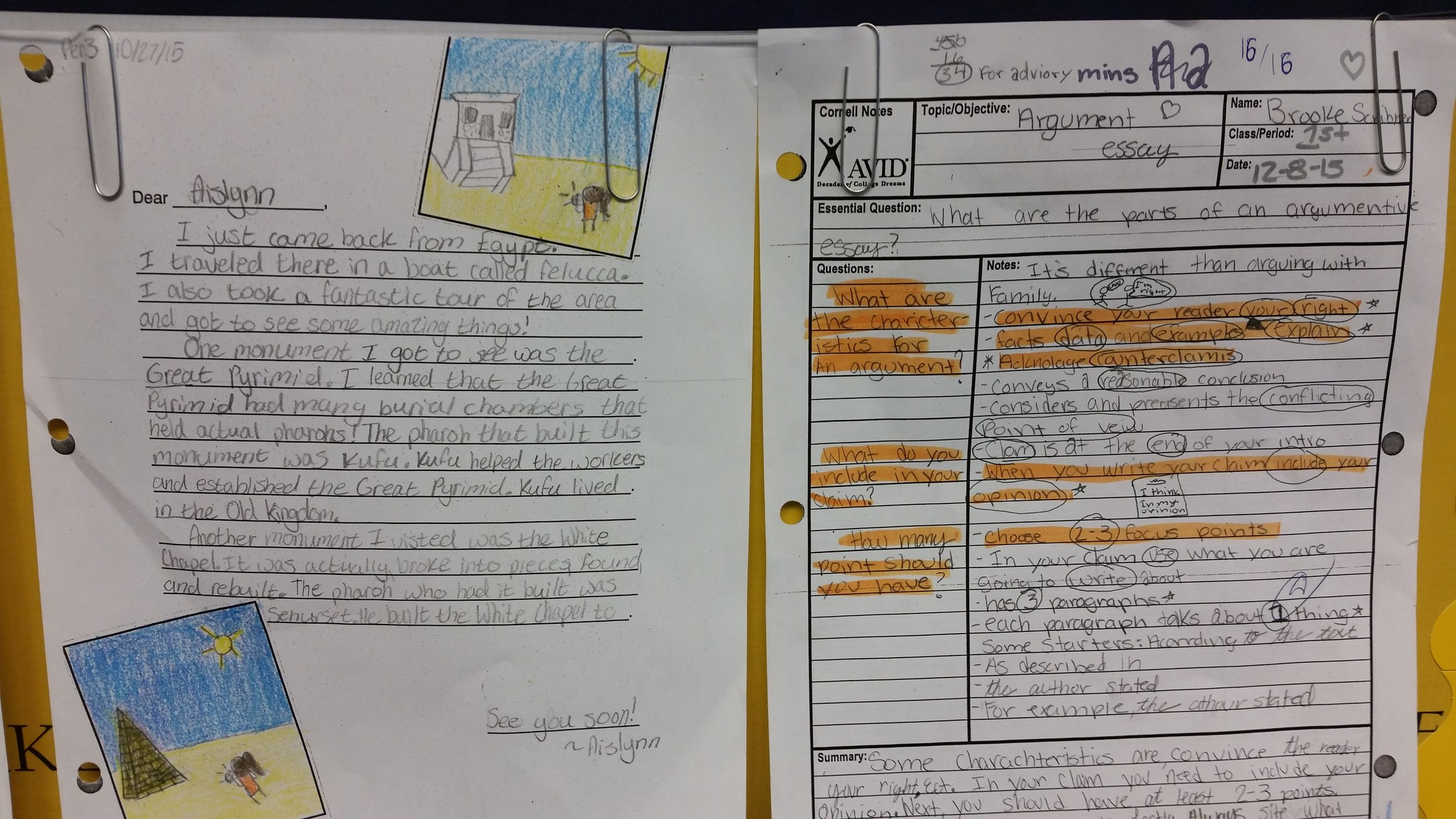 Dartmouth AVID student work examples