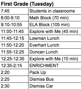 Image of 1st grade enrichment schedule