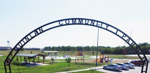 Quinlan Community Park entrance sign