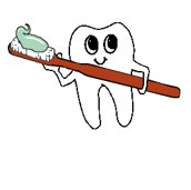 tooth with toothbrush clipart