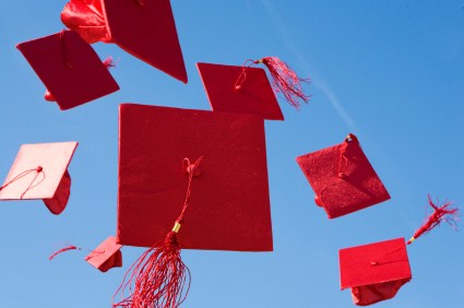 Red mortarboards