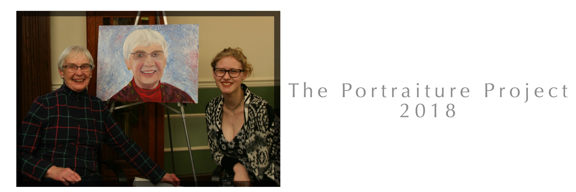Photo of student, the painting, and the Quail Summit resident who is the subject of the painting