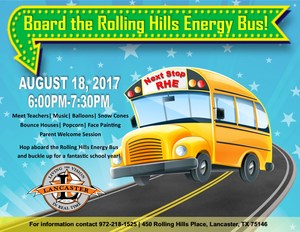 Rolling Hills Elementary Back to School Event Flyer