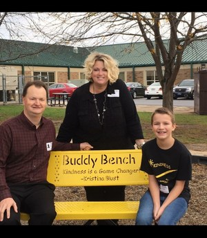 Blust family on the Buddy Bench