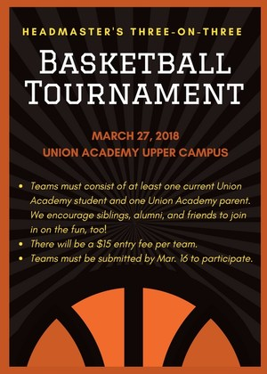 Headmaster's Basketball Tournament Flyer