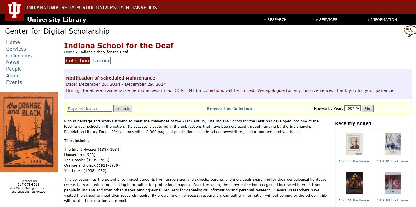 Screenshot of the ISD Archives online.