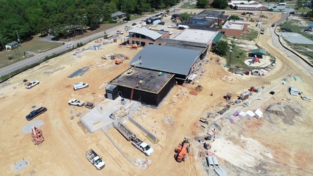 Aerial photo of Springdale Elementary campus renovations
