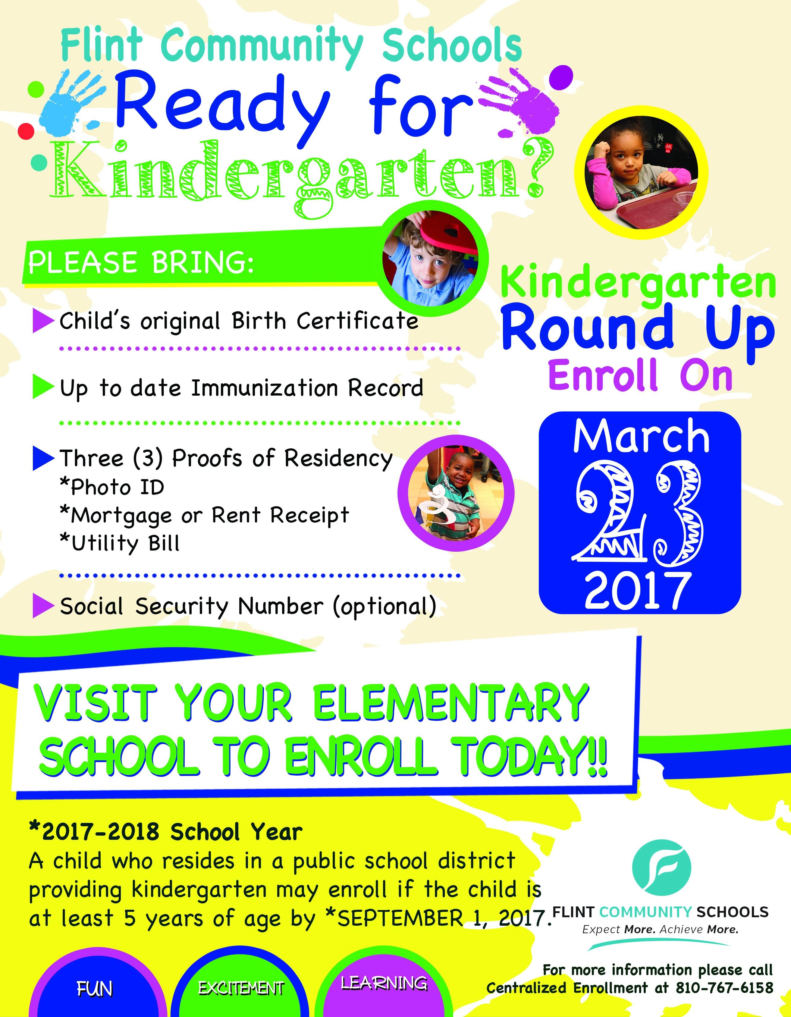 Kindergarten Round Up Calendar March 23, 2017 District Wide