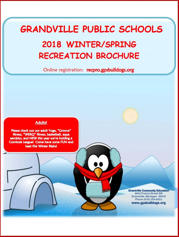 screen shot of Community Ed brochure cover for spring and winter, with clipart penguin