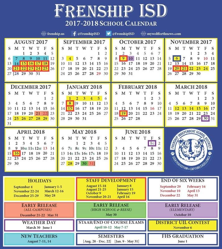 Frenship ISD 2017-18 Calendar