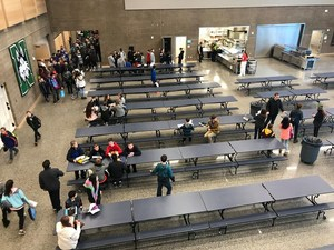 Students mingle in the new Commons area at Northwood.